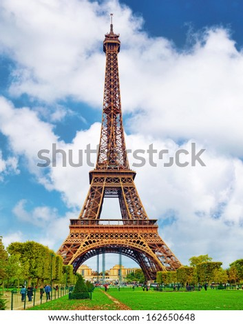 Eiffel Tower -view from the Champs de Mars.Paris, France