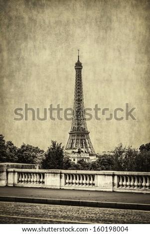 Eiffel tower view monochrome vintage - stock photo