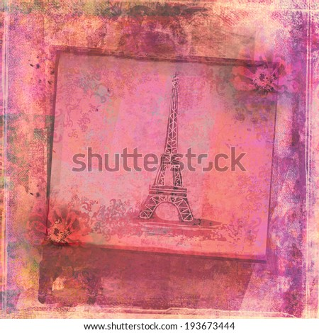 Eiffel tower - vintage abstract card  - stock photo