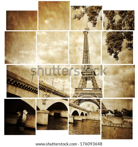 Eiffel tower vintage retro in tiled effect, Paris, France - stock photo
