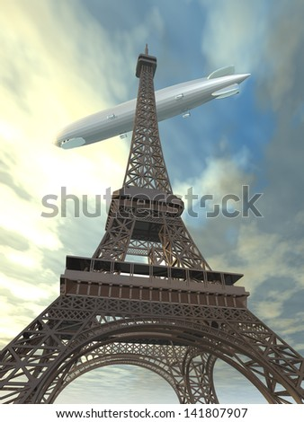 Eiffel Tower with Airship Computer generated 3D illustration