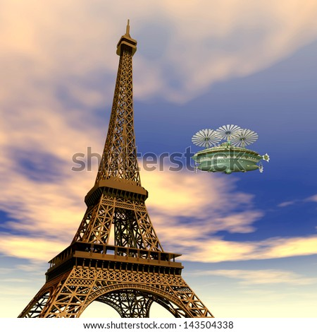 Eiffel Tower with Fantasy Airship Computer generated 3D illustration