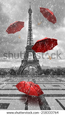 Eiffel tower with flying umbrellas. Black and white with red element - stock photo