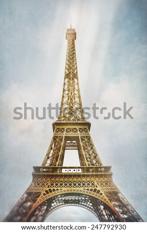 Eiffel Tower with lighting and texture effects, vintage look