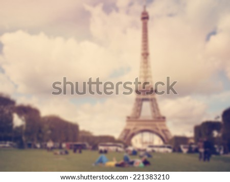 Eiffle Paris blur background with instagram effect - stock photo