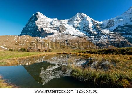 Eiger an Monch mountain panorama from kleine Scheidegg, Grindelwald, Switzerland - stock photo