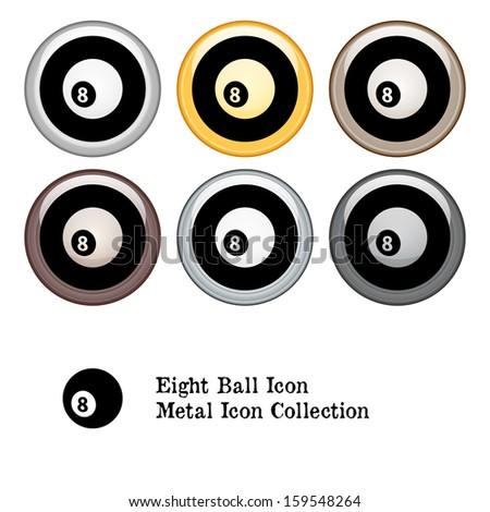 Eight Ball Icon Metal Icon Set.  Raster version. - stock photo