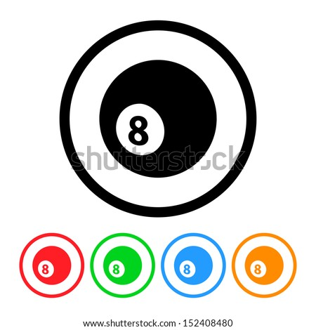 Eight Ball Icon with Color Variations.  Raster version. - stock photo