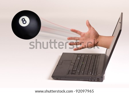 Eight Ball Out of the Computer Screen. - stock photo
