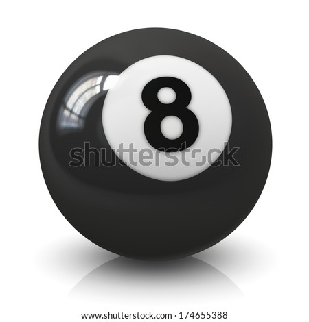 Eight 8 billiard game ball isolated on white background with reflection effect - stock photo
