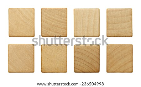 Eight Blank Wood Scrabble Pieces Isolated on White Background. - stock photo