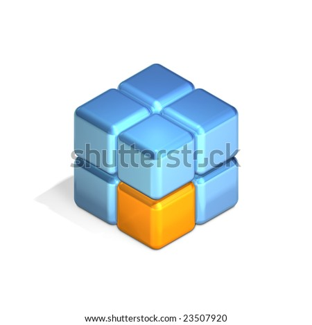 Eight Cubes in Three Dimensional Isometric Perspective (jpeg file has clipping path)