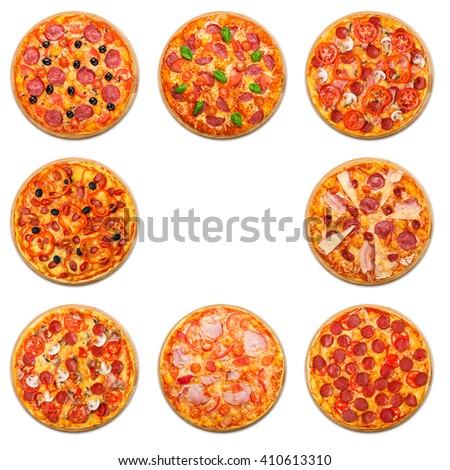 Eight different pizza set for menu. Italian food traditional cuisine. Meat pizzas with mozarella, salami, sausages, pepperoni and ham. Collagewith empty space, copyspace in the middle.