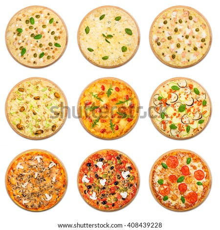 Eight different pizza set for menu. Italian food traditional cuisine. Vegetarian pizzas with mozarella, seafood, salmon, mushrooms. Collage of snacks with fish and vegetables.