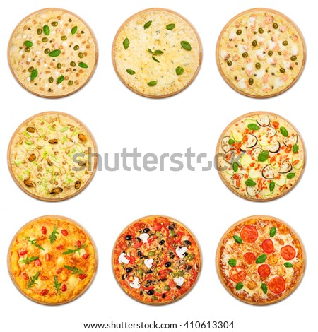 Eight different pizza set for menu. Italian food traditional cuisine. Vegetarian pizzas with mozarella, seafood, salmon, mushrooms. Collage of pizzas with empty space, copyspace in the middle.