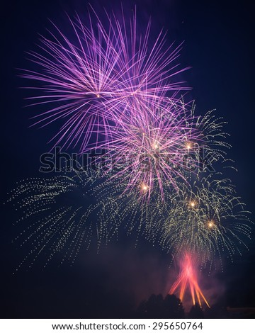 Eight fireworks blast  - Wind and Fire contest. Poland.