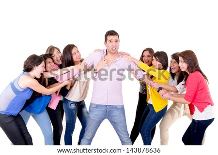 Eight Girls fighting over a guy