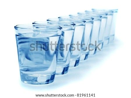 eight glass of water healthy concept - stock photo
