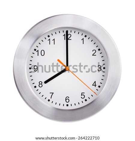 Eight hours on a large round dial - stock photo