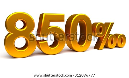 Eight hundred and fifty per mill 3D text, with big golden fonts isolated on white background. Rendered illustration.
