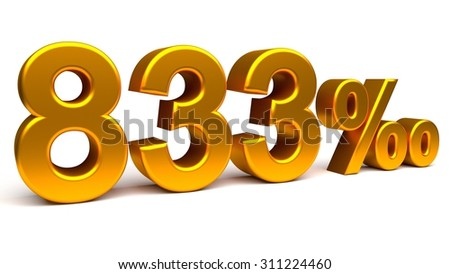 Eight hundred and thirty three per mill 3D text, with big golden fonts isolated on white background. Rendered illustration.