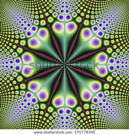 Eight Long Nosed Spotted Critters / A digital abstract fractal image with a spotted pattern design in green, yellow, blue and purple. - stock photo