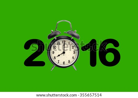 Eight o'clock on a round alarm clock and show year 2016 on green background