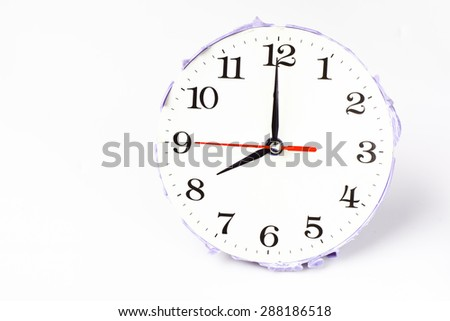 eight o'clock on the white wall clocks (isolated)