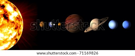 eight planet solar system - stock photo