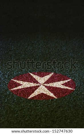 Eight Pointed Maltese Cross, Emblem of Order of the Knights of Saint John symbolize the 8 points of courage: Loyalty,Piety,Generosity, Bravery, Glory & Honor, Contempt of Death, Helpfulness, Respect - stock photo