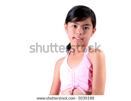 Eight Year Old Asian Child in Swimsuit Isolated