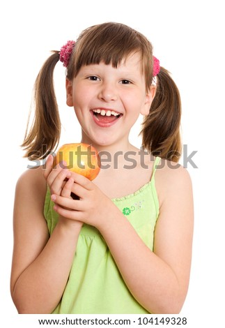 Eight years Girl holding apple isolated on white