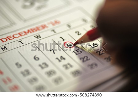 Eighth day of month/ Month Calendar/ Planning mark on the date/  Bill payment