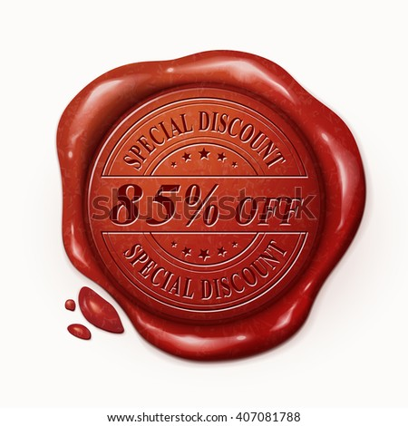 eighty five percent off red wax seal over white background