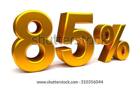 Eighty five percents 3D text, with big golden fonts isolated on white background. Rendered illustration.