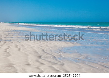 Eighty Mile Beach is located on the beachfront between Port Hedland and Broome, Australia This beach actually stretches for 220 kilometeres home land of the Nyangumarta people - stock photo