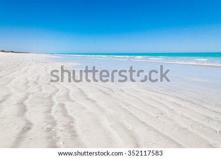 Eighty Mile Beach is located on the beachfront between Port Hedland and Broome Australia This beach actually stretches for 220 kilometeres home land of the Nyangumarta people