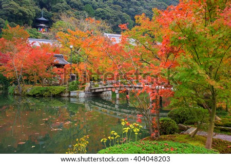 Eikando temple with Autumn foliage garden in Kyoto, Japan.