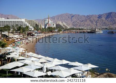 EILAT, ISRAEL - CIRCA NOVEMBER 2014 Hotels on the beach                                - stock photo