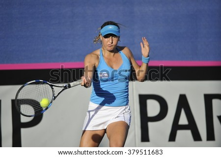 EILAT, ISRAEL - FEBRUARY 06, 2016: Professional tennis player Shachar Peer from Israeli national team in action during the BNP Paribas FedCup game 2016 at ?Eilat Tennis Center in Israel