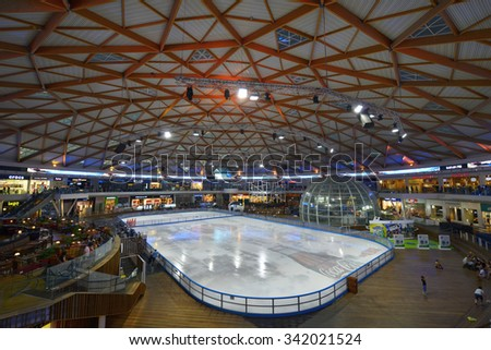 EILAT, ISRAEL - JUNE 15, 2013:  Ice Park in Eilat city is the largest entertainment complex in Israel with 10 levels of shopping, restaurants and Olympic size (1800m²) ice rink
