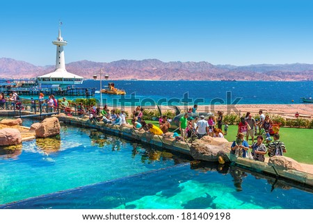 EILAT, ISRAEL - MARCH 31, 2010: Marine park observatory with hundreds of thousands visitors annually allows to explore wonders of Red Sea from close up and located in popular resort of Eilat. - stock photo