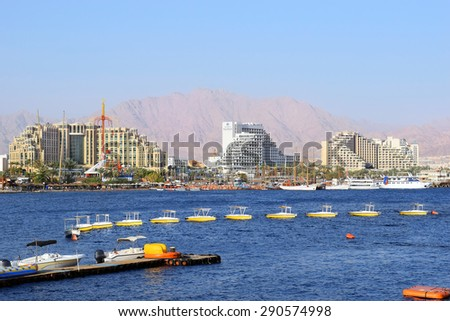 Eilat, Israel - MAY 17 : views of the luxurious hotels in popular resort - Eilat of Israel  from Gulf of Eilat on may 17, 2015 Eilat, Israel - stock photo