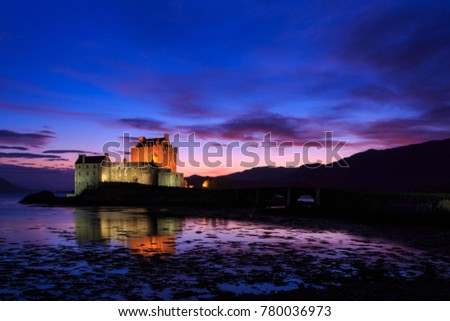 Eilean Donan Castle at dusk, Western Highlands of Scotland, United Kingdom (UK)