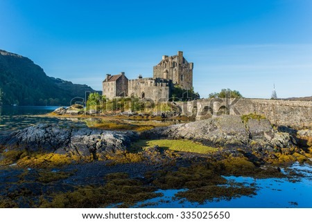 Eilean Donan Castle in Highland, Scotland in Autumn season