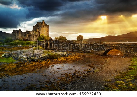 Eilean Donan  castle in UK - stock photo