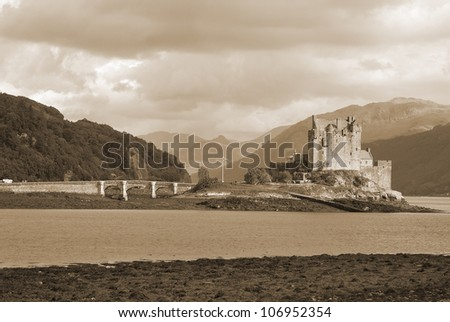 Eilean Donan Castle is a small island in Loch Duich in the western Highlands of Scotland. It is connected to the mainland by a footbridge and lies about half a mile from the village of Dornie. - stock photo