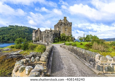 Eilean Donan Island, United Kingdom - August 20, 2014: The Eilean Donan castle in Scotland. This castle, frequently appears in film and television, was founded in the thirteenth century. - stock photo