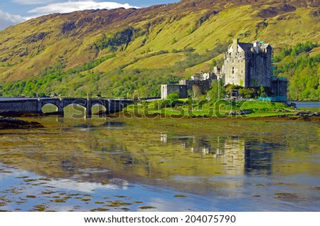 Eilean Donean Castle in Spring, Scotland - stock photo