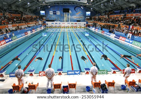 open air olympic swimming pool and competition lines eindhoven holland march 19 2008 top panoramic view of swimmers starting blocks